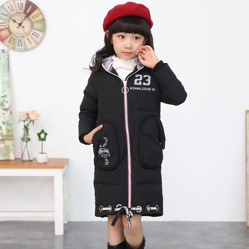 Скидки на 2016 новые девушки вниз зимняя куртка для девочки пальто большие дети детские зимние куртки с капюшоном воротник с длинными верхняя одежда куртка пальто