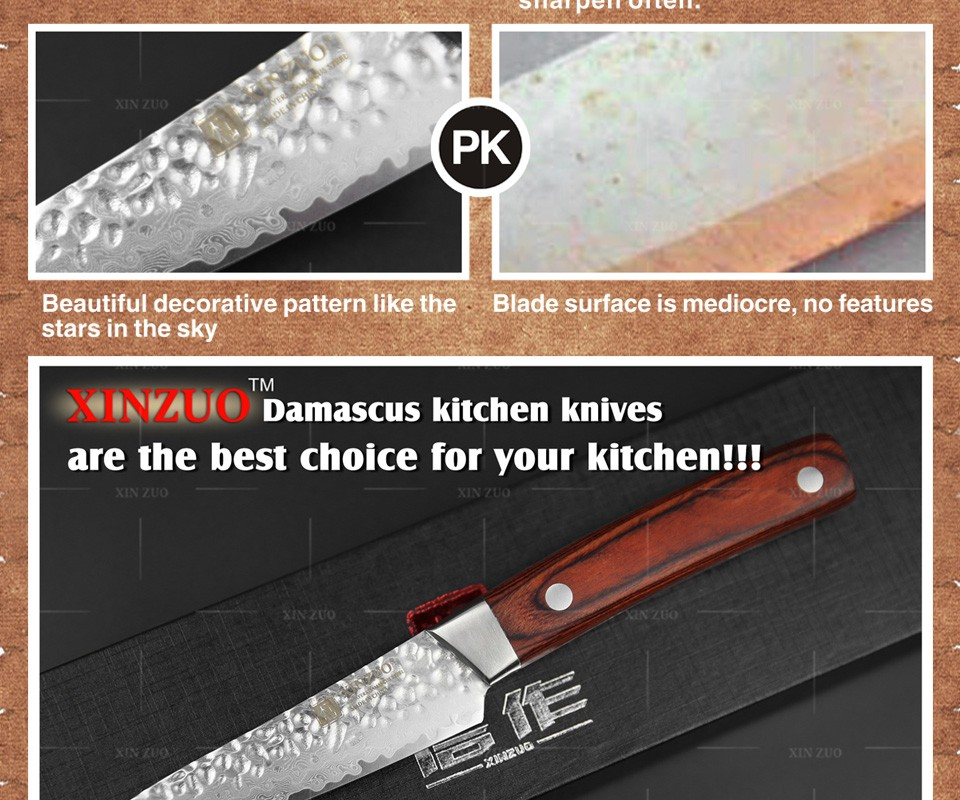"Buy XINZUO 3.5"" inch fruit knife Damascus kitchen knives surper sharp paring kitchen knife utility knife wood handle FREE SHIPPING cheap"