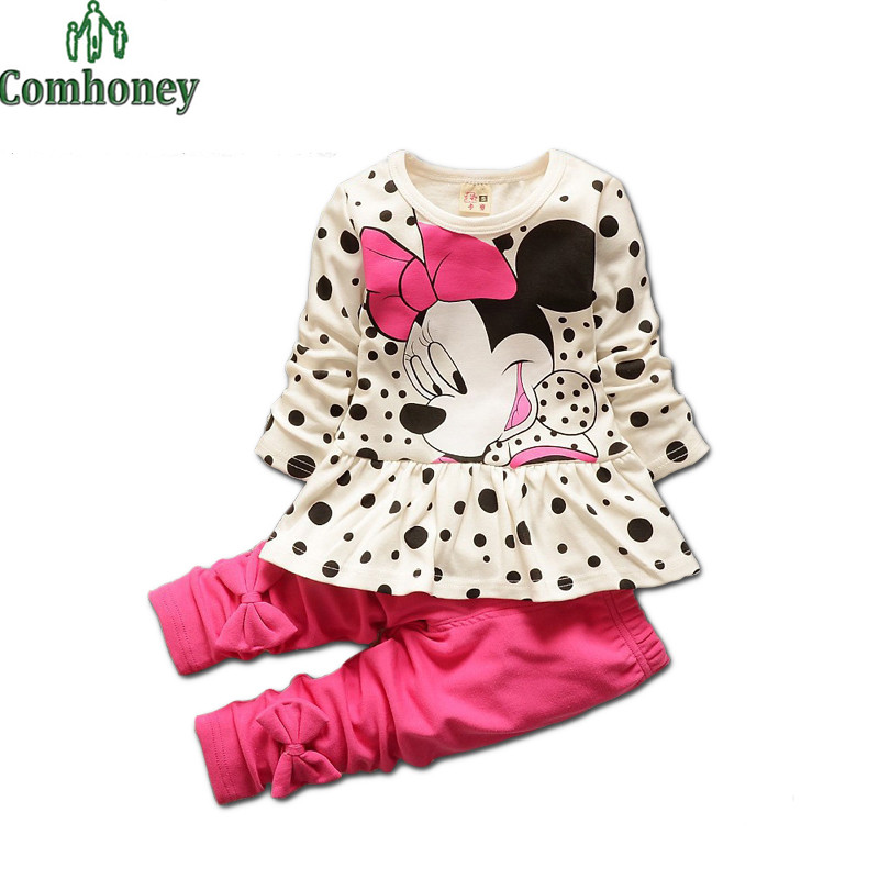 Minnie Mouse Girls Sport Clothing Set Kids Tracksuit Long Sleeve Polka Dot Rulle Tops+Pants Sweet Cute Cartoon Children Clothes(China (Mainland))