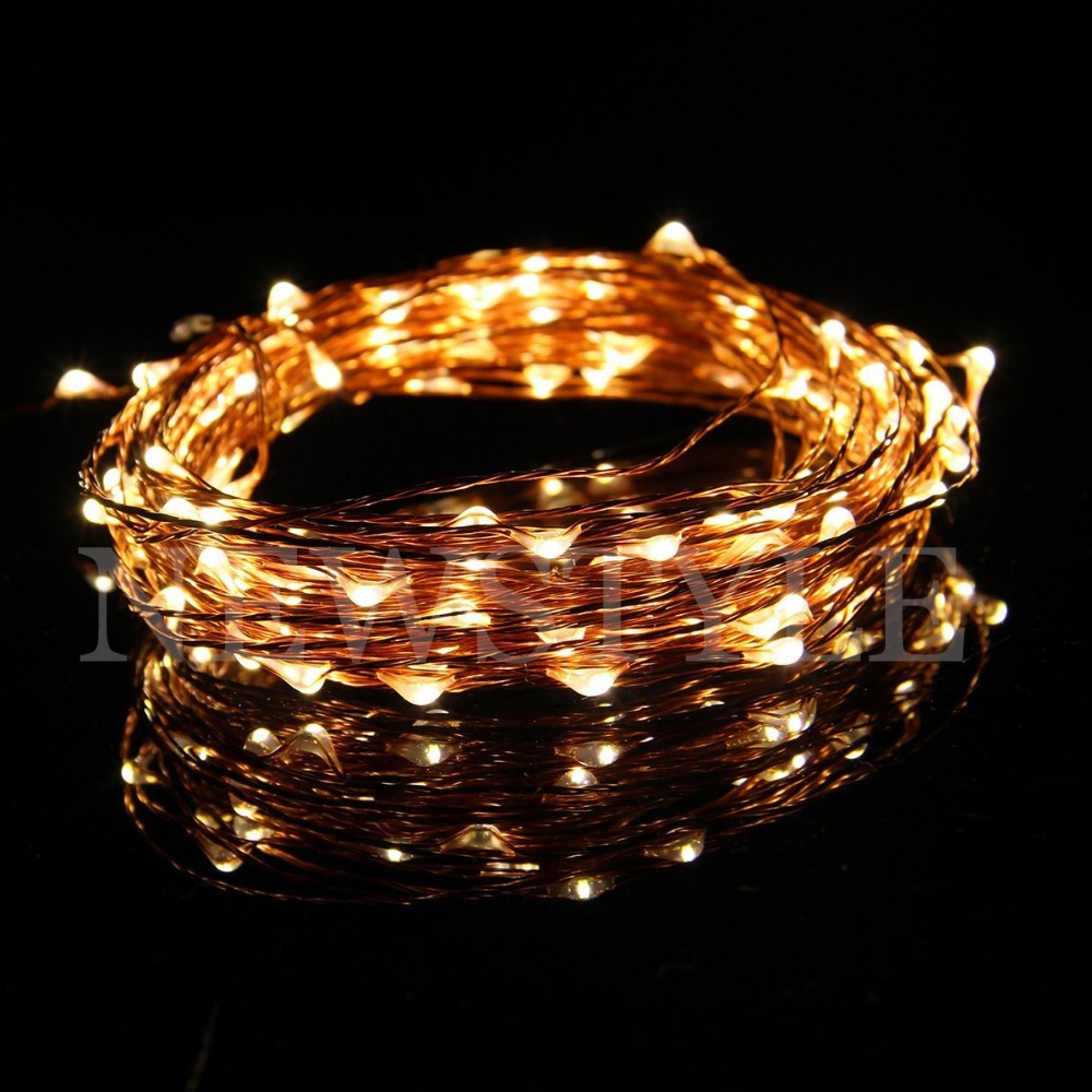Starlight Led String Lights 10 Copper Wire : 10M Warm White 100 LED Lights Strings 100 LEDs on Copper Wire 33ft LED Starry Light-in Lighting ...