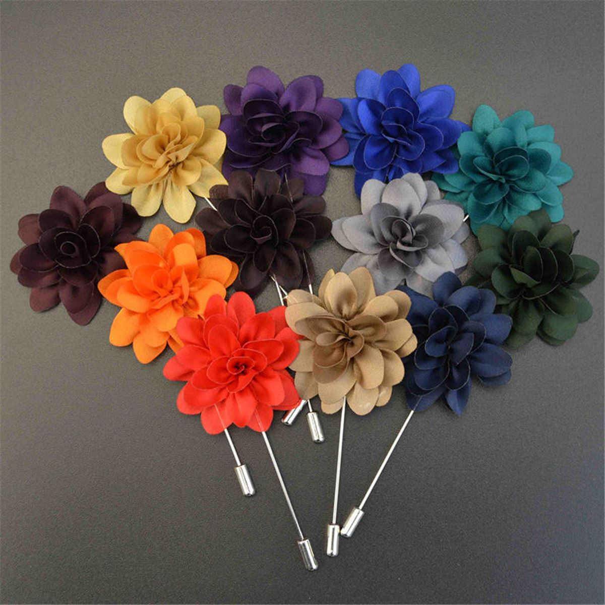 Flower Handmade Boutonniere Brooches New 2015 Promotion Fashion Lapel Fabric Pin Stick Mens Accessories 12 Colors For Selection(China (Mainland))
