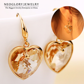 Neoglory Austria Crystal Heart Drop Dangle Earrings Jewelry Accessories for Women Gifts Fashion 2015 Russia Brand Roamntic CLE