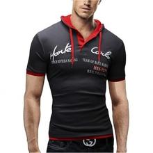 Men Leisure Brand 2017 Summer Fashion Men Hooded Collar Sling Design men's t-shirts T Shirt Men Short Sleeve Slim Male Tops XXL