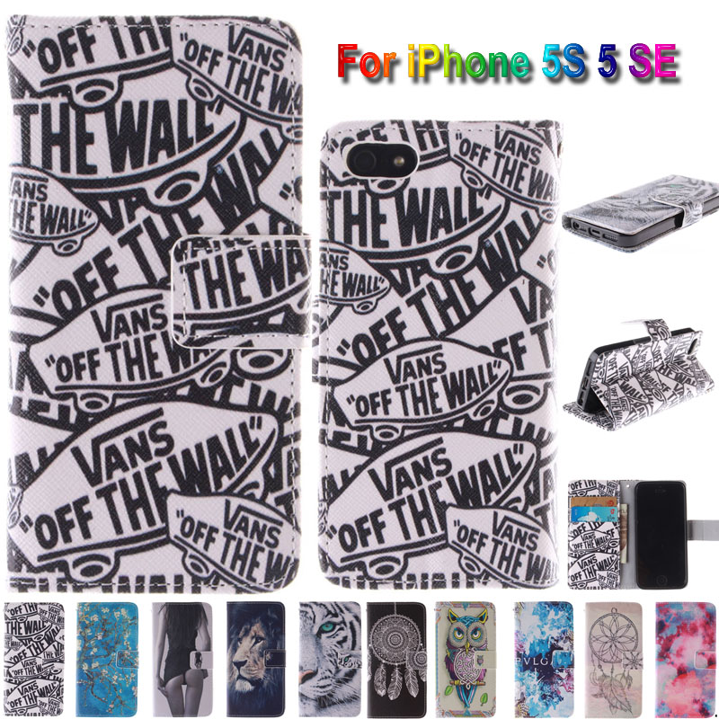 Top Quality Nice In Side Print Leather Cell Phone Case Flip Covers For Apple iPhone 5S 5 SE with Card Slots Full Protective Bags(China (Mainland))