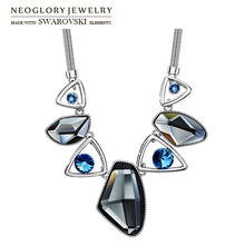 Neoglory Austria Crystal & Auden Rhinestone Pendant Long Necklace Elegant Geomeric Design Platinum Plated For Trendy Lady Sale(China (Mainland))