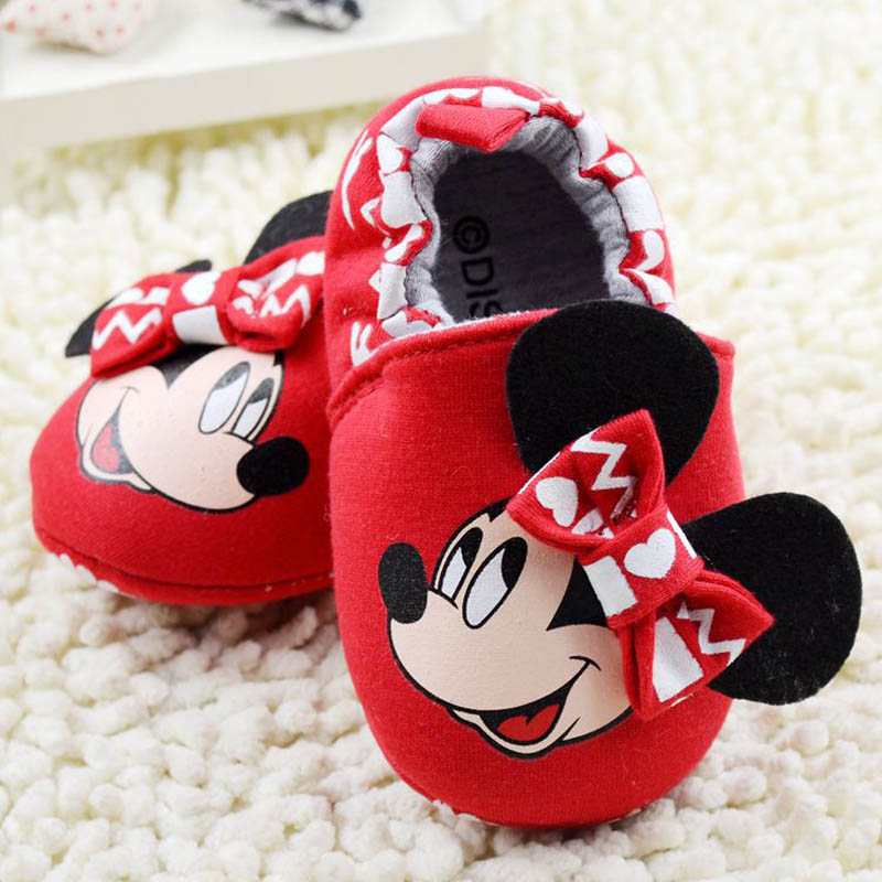 2016 Hot sales baby girls cartoon minnie prewalkers cute baby shoes red colour(China (Mainland))