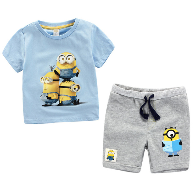 2016 Summer Children's Clothing Sets baby boy sports suit sets Despicable Me Minions cotton cartoon T-shirt+casual shorts