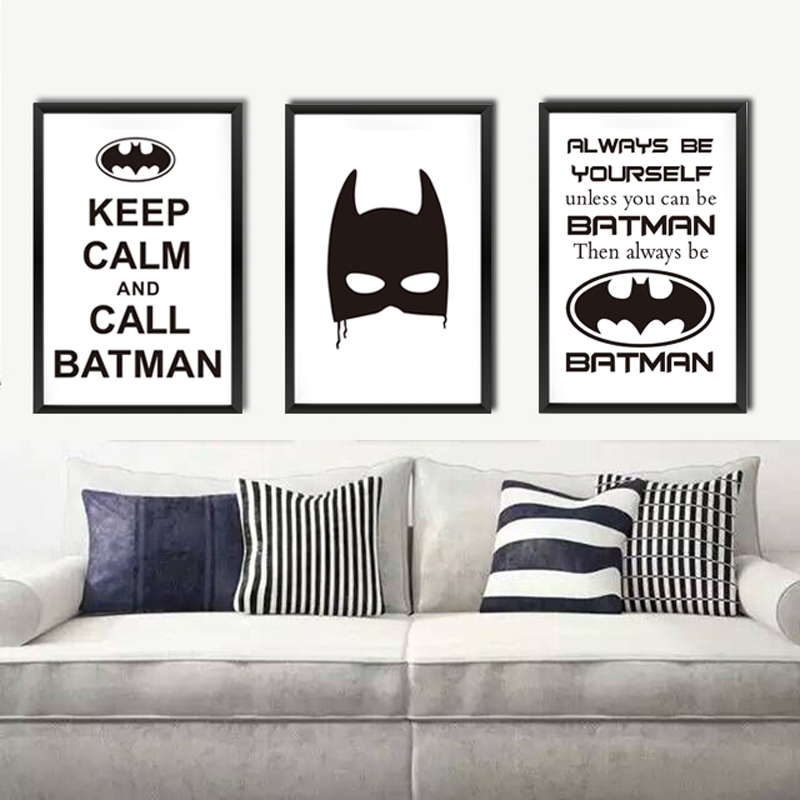 Keep Calm Superman Batman Canvas Print Poster A4 No Frame Painting Bat Hero Mask Movie Kids Room 6 Styles Wall Picture(China (Mainland))