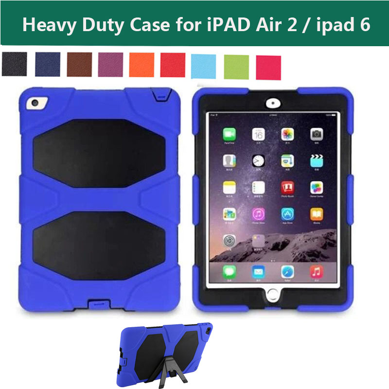 High Impact Resistant Extreme Duty Hybrid 3 Layer Armor Defender Full Protective Case Cover w/ Kickstand for Apple iPad Air 2<br><br>Aliexpress