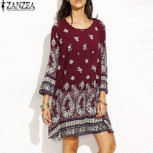 Buy Plus Size S-5xl ZANZEA Womens Long Sleeve Mini Dress Floral Print Loose Casual Boho Party Summer Beach Shirt Dress 2017 for $9.79 in AliExpress store