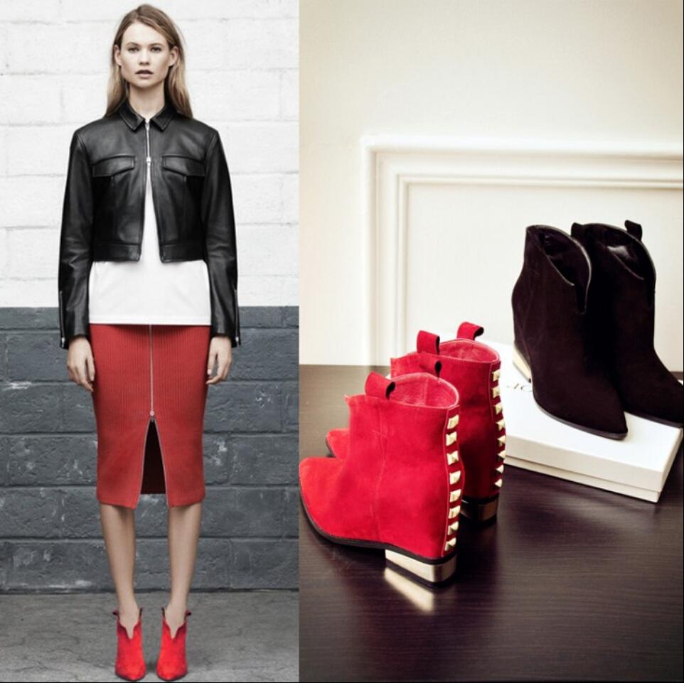 Red Suede Boots Low Heel