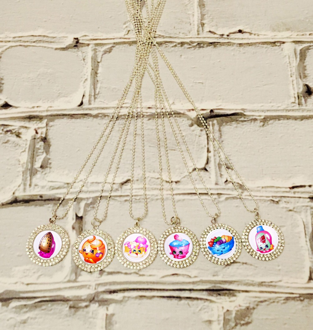 6pc Classic Shopkins Figures Bling Crystal Bottle Cap Necklace Pendant with Stainless Steel Chain, Party Favor Shopkins Jewelry(China (Mainland))