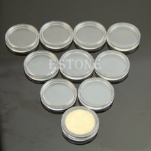 10 PCS Applied Clear Round Cases Coin Storage Capsules Holder Round Plastic 18/19/20/21/22/23/24/25/26/27/28/30/35/37/38/40/50mm(China (Mainland))
