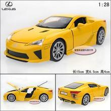 New 1:28 Lexus LFA Alloy Diecast Car Model Toy With Sound&Light Yellow Toy Collecion B1907(China (Mainland))