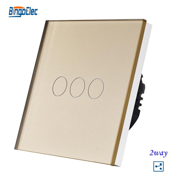3gang 2way Golden crystal toughened glass panel touch control light switch, EU/UK standard AC110-240V Free shipping(China (Mainland))
