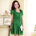 Bust 140 dress for women s chiffon one piece dress elegant slim dress plus size L