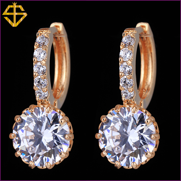 SI High Quality White Gold Plated Round Stone 2 75Carat Cubic Zirconia Stone Hoop channel earrings