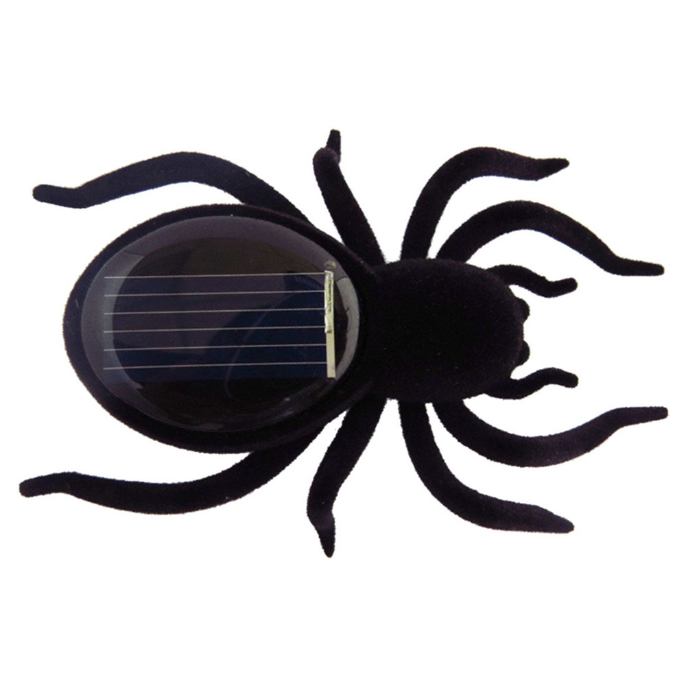 Mini Solar Powered Energy Cute Spider Gadget Gift Educational Toy For Kids Children - Black(China (Mainland))