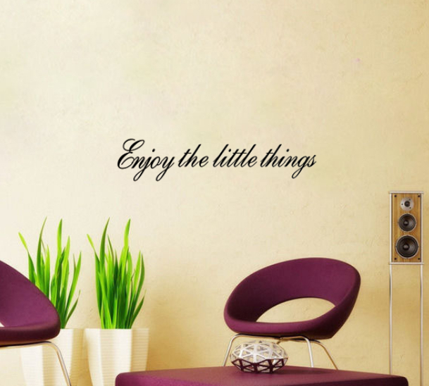 ENJOY THE LITTLE THINGS Vinyl wall quotes Inspirational home art decor decal living room wall stickers bedroom wallpaper(China (Mainland))