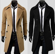 Freeshipping 2014 new fashion men winter coat men's windbreaker jacket  Slim  men's business casual woolen jacket stitching(China (Mainland))