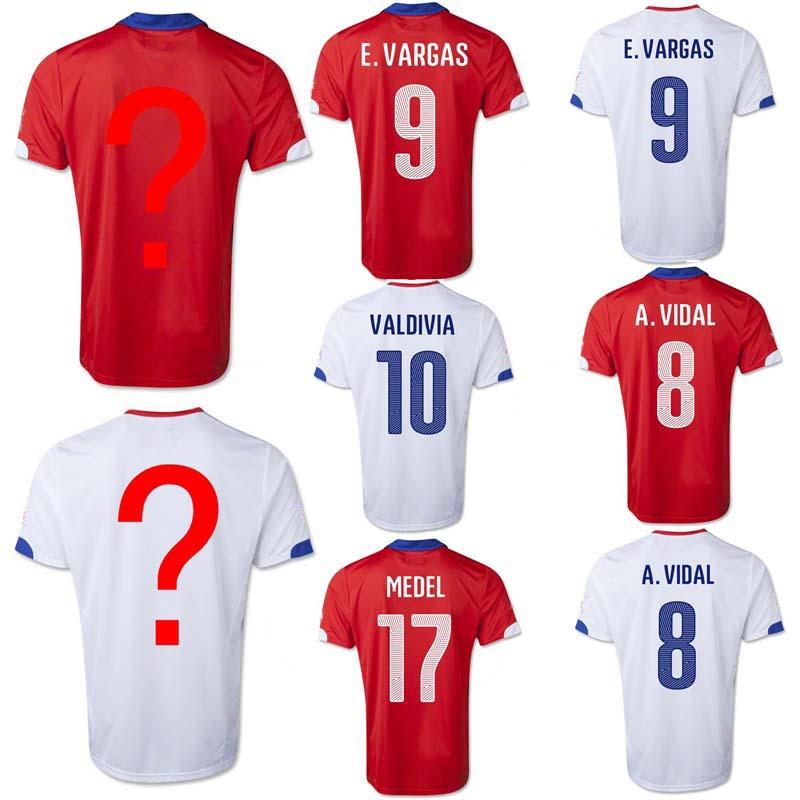 top quality Chile Soccer jerseys 2014 WC A.SANCHEZ home Away A.VIDAL E.VARGAS MEDEL VALDIVIA 2015 football jerseys Free Shipping(China (Mainland))