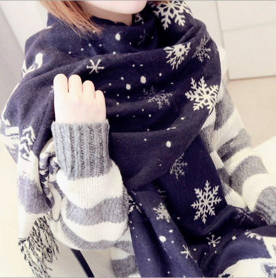 Christmas Snowflake Cashmere Scarves New Hot Japanese Style couple Super Dual Shawls Scarves(China (Mainland))