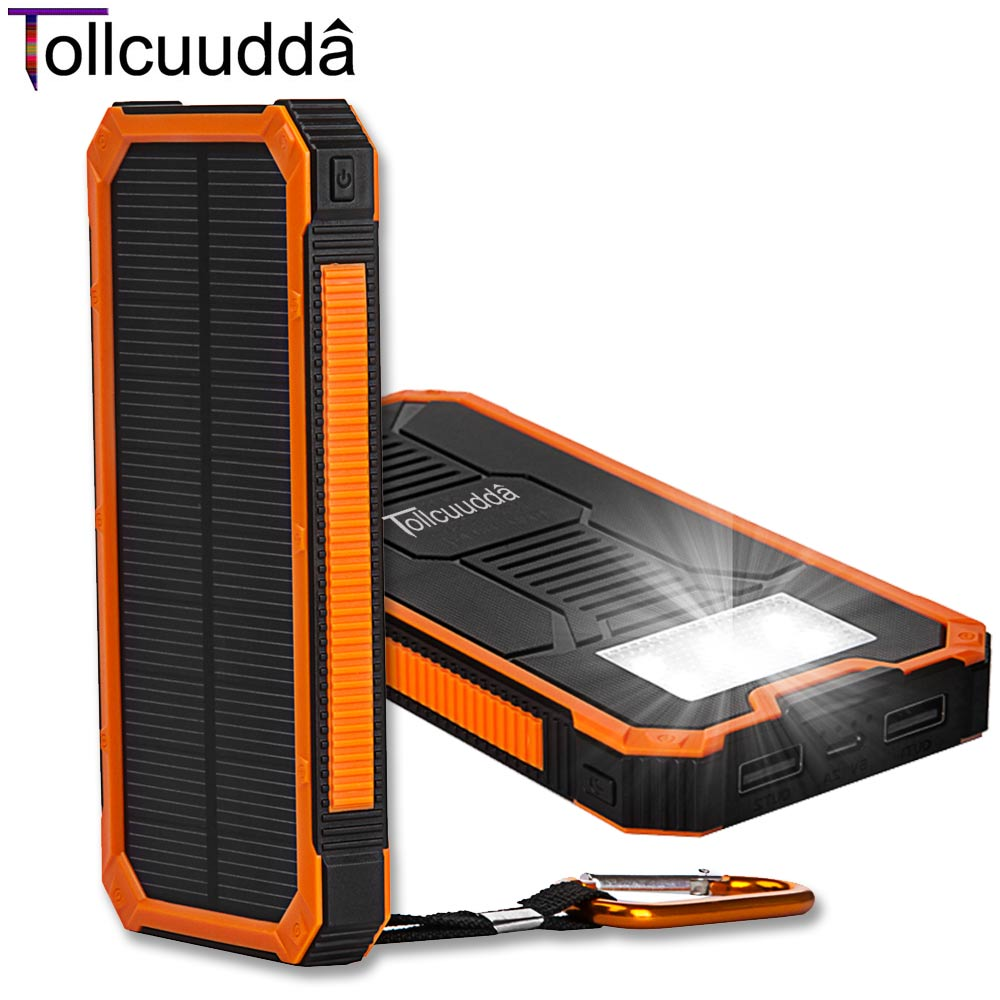 Tollcuudda Solar Poverbank Mobile Phone Power Bank Portable External Sun Charger Cellphone Battery Powerbank 10000mah Universal(China (Mainland))
