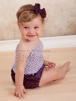 3 Pcs Set - Baby Girls Lavender Crochet Tube Top & Purple Rosettes Bloomer Panties Underwear & Headband 0-12M
