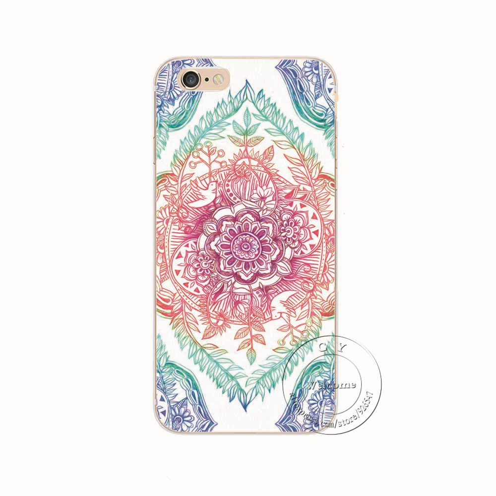 Shell For Apple iPhone 6 6S iPhone6S iPhone6 Back Case Cover Printing Mandala Flower Datura Floral Cell Phone Cases