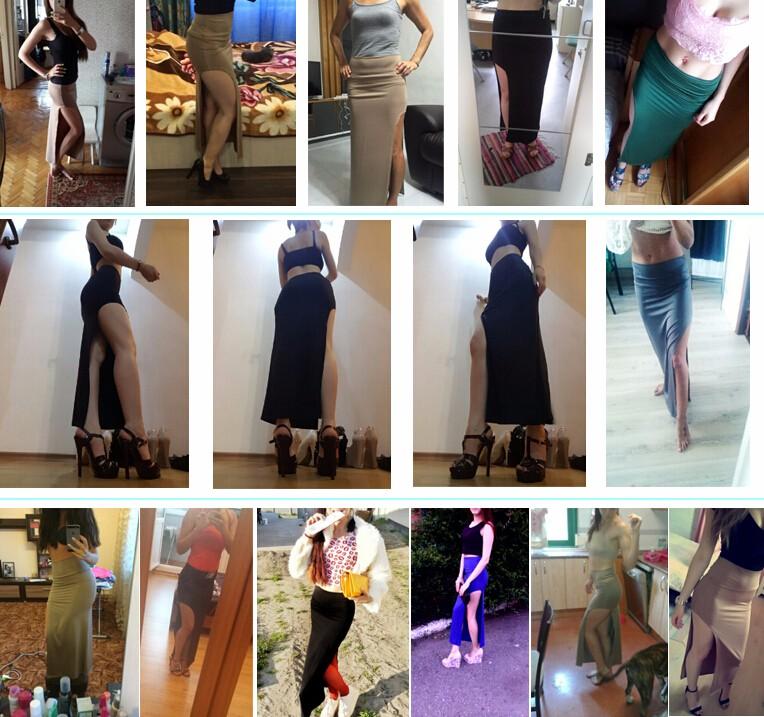2016 de Moda de Nova Encanto Sexy Mulheres Senhora Saias Longas Divisão Lado Aberto Saia Longa Saia Maxi Preto