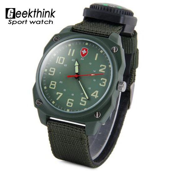 Военный армейское компас человек спорт часы мужчины в часы вилочная часть на открытом воздухе пеший туризм ткань ремень кварцевый наручные часы