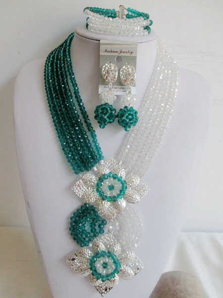 Fashion Army Green Clear Nigerian Wedding Beads Crystal Beads Necklace Bridal African Costume Jewelry Set ABE1033<br><br>Aliexpress