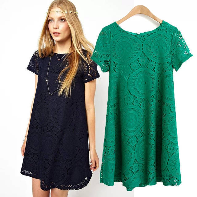Free Shipping New European American Women Dress short Sleeve Lace Dress Loose Bottoming Dresses #6127