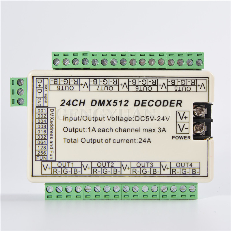 24CH dmx512 led decoder Controller,8channel dmx 512 dimmer driver For RGB LEDs(China (Mainland))