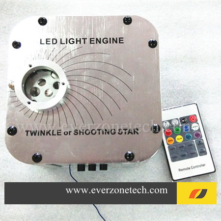27W LED fiber optic light engine with twinkle color wheel 24keysIR remote control fiber optic star ceiling light engine(China (Mainland))