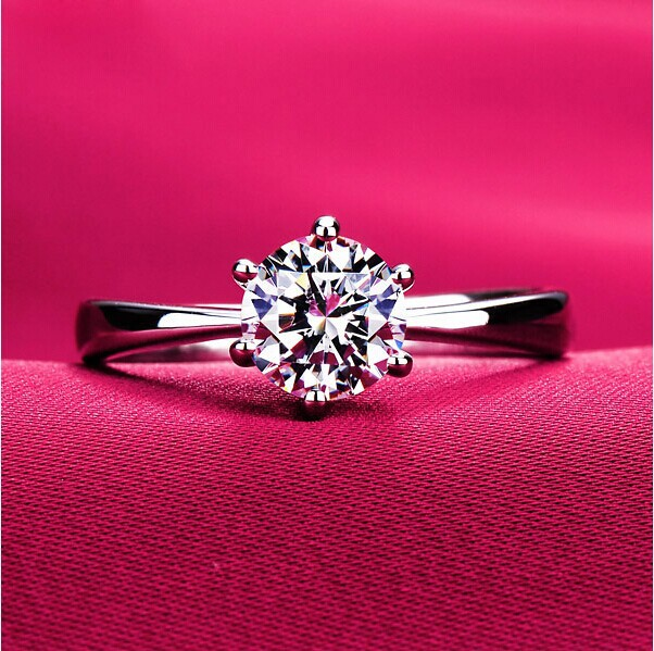 Never fading 1.2carat 6claws large simulated diamond Rings women 18K white gold plared Engagement alliance USA size(Hong Kong)