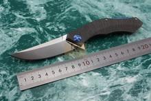 Shirogorov poluchetkiy Flipper Bearing washer D2 Brushed Blade TC4 titanium Handle Outdoors Survival Tactical folding knife