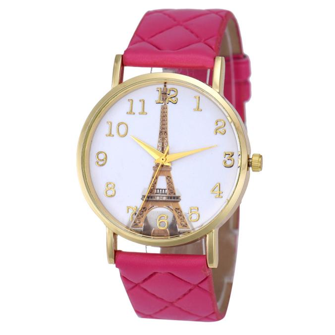 Irissshine #0098 Woman watches 9 colors  Paris Eiffel Tower Women lady girl Faux Leather Analog Quartz Wrist Watch wholesale