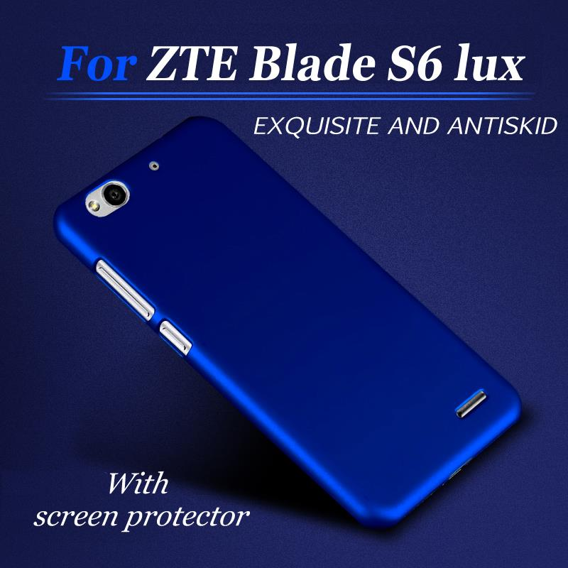 Simple Case for ZTE Blade S6 lux S6 plus Q7 5.5 inch Hard PC Luxury cell phone Back Cover Case +Screen Protector(China (Mainland))