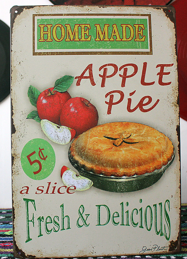 Home made apple pie fresh and delicious.vintage tin signs metal sign wall decoration of pizzeria cake.Provide free solid glue.(China (Mainland))
