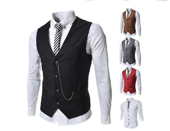 Fashion Waistcoat Men Suit Vest Slim Dress Vests Business Jacket Leisure Waistcoat Free Shipping(China (Mainland))