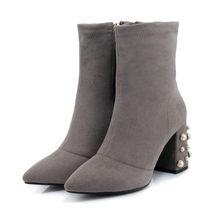 MLJUESE 2018 kadın yarım çizmeler Akın sonbahar inciler sivri burun kare topuklu binici çizmeleri kadın boyutu 32-43 kadın çorap botları(China)