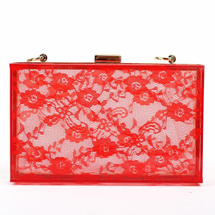 2015 Orange Elegant Clear Box Evening Acrylic Clutch Lace Bag Plastic Purse Ladie Beg bolsas ACCS Brand Design Womens Clutches(China (Mainland))