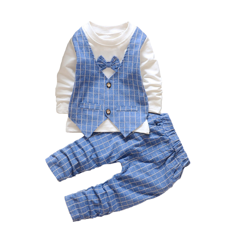 2016 New Autumn Kids Clothes Boys Clothing Sets Baby Boy Set Toddler Plaid Wedding Party Birthday Dresses