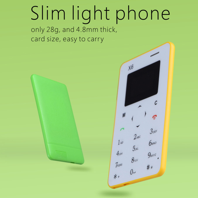 2015 smallest 4.8mm thickness bluetooth 3.0 dialer FM Remote camera listen music Ultra slim mini card mobile phone X6 P026(China (Mainland))