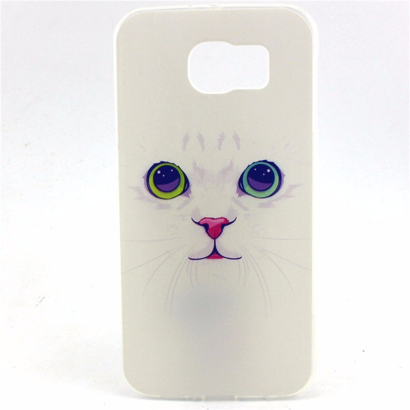 Attractive Lovely Pink Stripe Cat Dog TPU Case For Samsung Galaxy S7 Plus Capa Ultra Slim Soft Mobile Phone Back Cover Shell