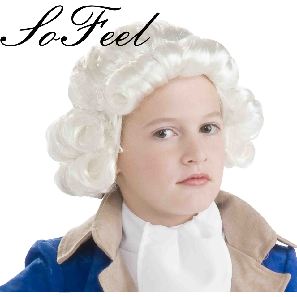 Sofeel Forum Novelties Colonial Boy Child Wig White high temperature fiber cosplay wigs free shipping(China (Mainland))