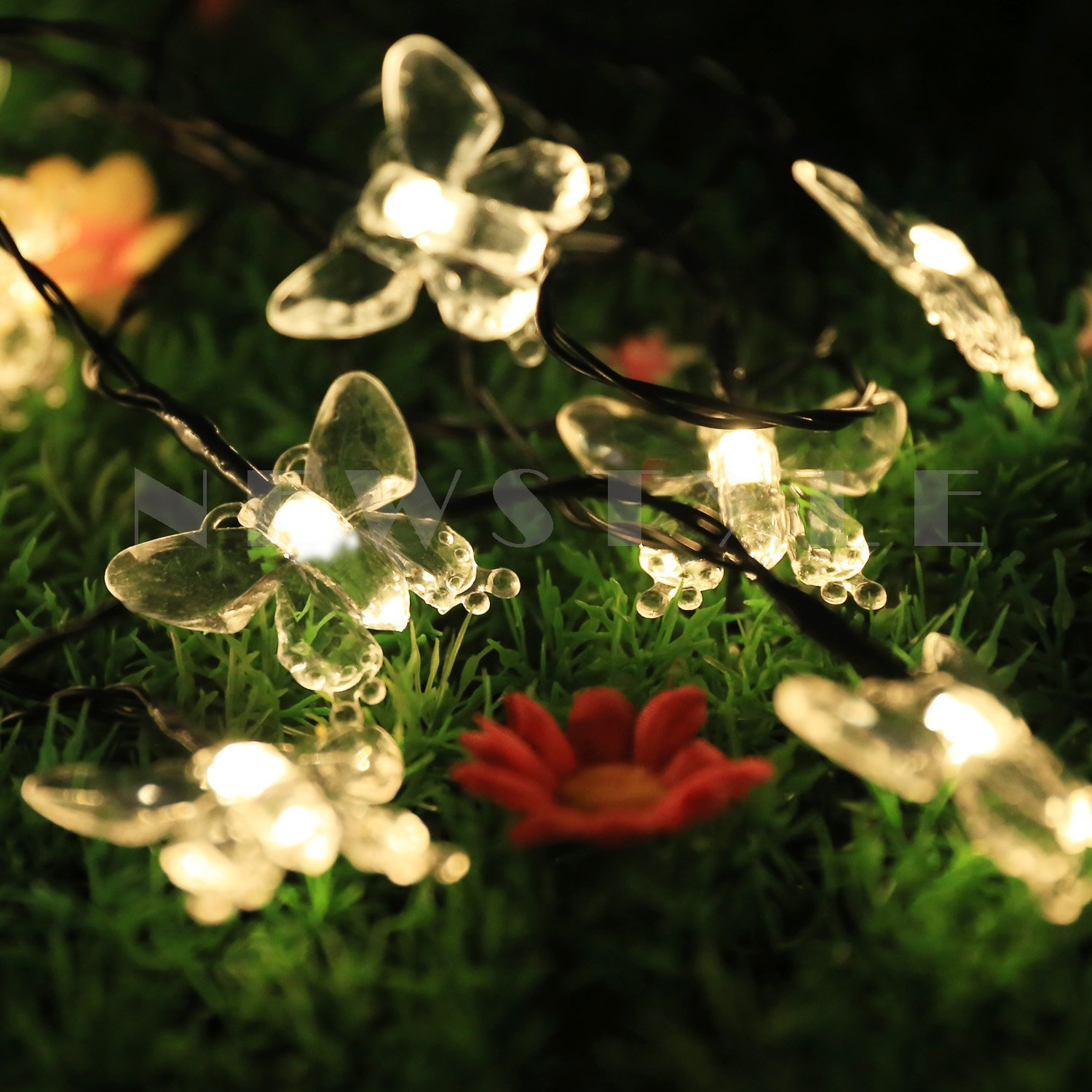 Solar Led Christmas Night Lights 15ft 20 Led Fairy Butterfly Lights for Party, Brithday, Halloween, Wedding, Outdoor, Gardens(China (Mainland))