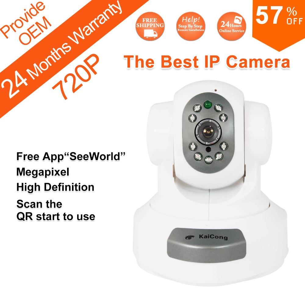 FREE SHIPPING 720P Mega pixel 1280*720 Pixels HD IP Camera WiFi Wireless TF Card Storage P2P H.264 Algorithm KaiCong Sip1303W(China (Mainland))