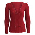 Sexy Autumn Winter Knitted Tops Women Pullover Lace Up Cross OL Sweatser Slim Long Sleeve Tops